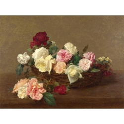 Wall art print and canvas. Henri Fantin-Latour, A Basket of Roses