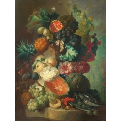 Wall art print and canvas. Jan Van Os, Fruit, flowers and a fish