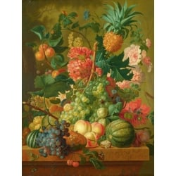 Wall art print and canvas. Paulus Theodorus van Brussel, Fruit and Flowers