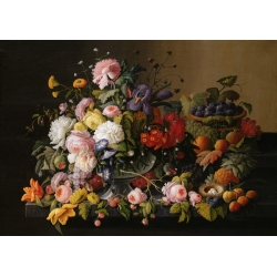 Wall art print and canvas. Severin Roesen, Flowers and Fruits