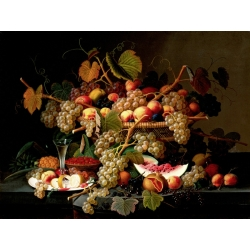 Wall art print and canvas. Severin Roesen, Still Life with Fruit