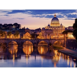Wall art print and canvas. Night view at St. Peter's cathedral, Rome