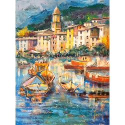 Wall art print and canvas. Luigi Florio, Colors of Portofino