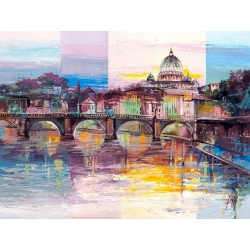 Wall art print and canvas. Luigi Florio, Evening in Rome