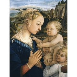 Wall art print and canvas. Filippo Lippi, Virgin with Child and angels (detail)
