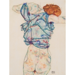 Wall art print and canvas. Egon Schiele, Woman Undressing