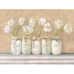 Wall art print and canvas. Jenny Thomlinson, White Tulips in Mason Jars