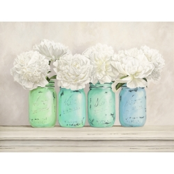 Wall art print and canvas. Jenny Thomlinson, Peonies in Mason Jars