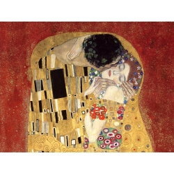 Wall art print and canvas. Gustav Klimt, The Kiss, detail (Red variation)