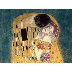 Wall art print and canvas. Gustav Klimt, The Kiss, detail (Blue variation)