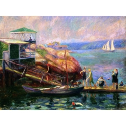 Tableau sur toile. William James Glackens, Swimming in the Bay