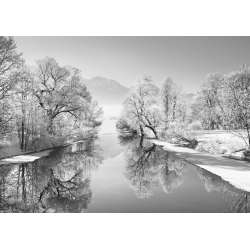 Wall art print and canvas. Krahmer, Winter landscape at Loisach, Germany (BW)