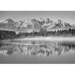 Wall art print and canvas. Krahmer, Allgaeu Alps and Hopfensee lake, Bavaria, Germany (BW)
