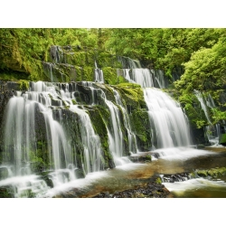 Wall art print and canvas. Krahmer, Waterfall Purakaunui Falls, New Zealand