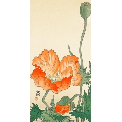 Wall art print on high quality canvas and poster. Koson Ohara, Poppies