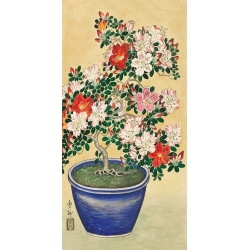 Wall art print on canvas. Koson Ohara, Blooming azalea in blue pot