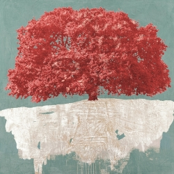 Quadro, stampa su tela. Alessio Aprile, Red Tree on Aqua