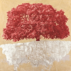 Wall art for living room. Art print and canvas. Red Tree on Gold