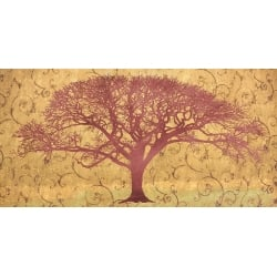 Quadro per il salotto, stampa su tela. Tree on a Gold Brocade