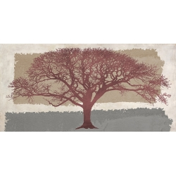 Wall art for living room. Art print and canvas. Burgundy Tree
