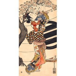 Japanese Art Print, Canvas. Ishikawa. Hanging poems on cherry tree