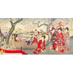 Stampa giapponese su tela e poster. A Hanami at the Edo Castle