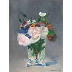 Wall Art Print, Canvas. Edouard Manet, Flowers in Crystal Vase