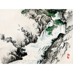 Japanese Art Print and Canvas. Bairei Kono, Waterfall