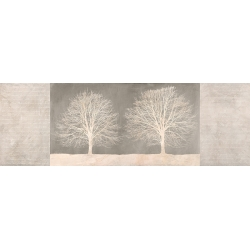 Wall art for living room. Art print and canvas. Trees on Grey panel