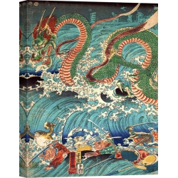 Quadro, stampa su tela. Kuniyoshi Utagawa, Recovering a jewel from the palace of the dragon king II